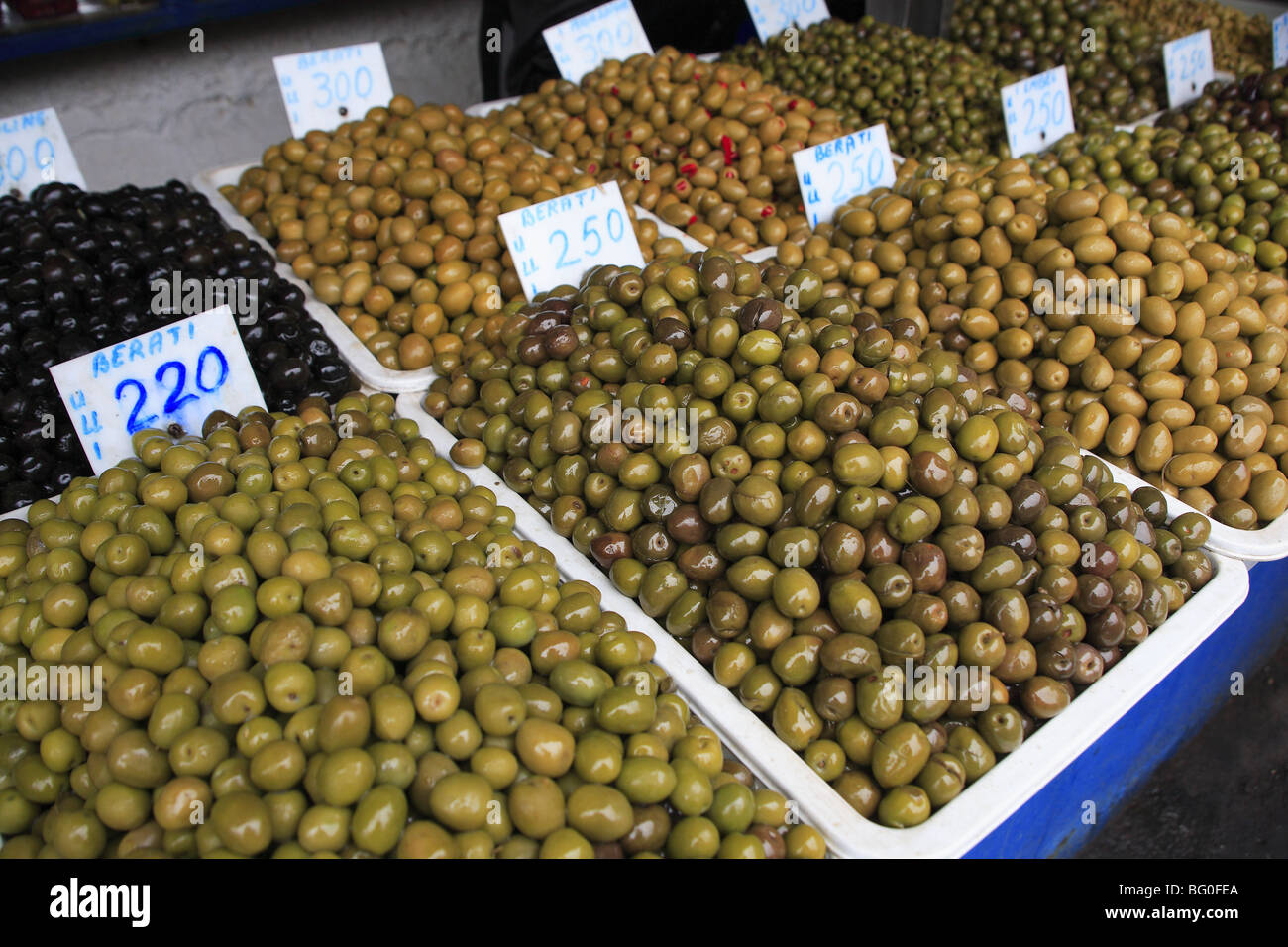 Display of olives in the market of the Avni Rustemi district of Tirana, Albania - Stock Image