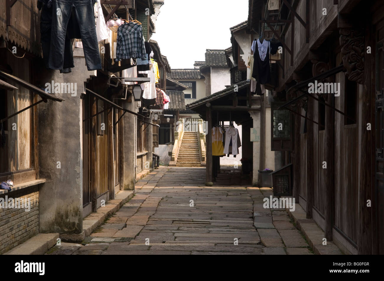 View of a sreet in the picturesque water town Wuzhen.  Zhejiang province, China. - Stock Image
