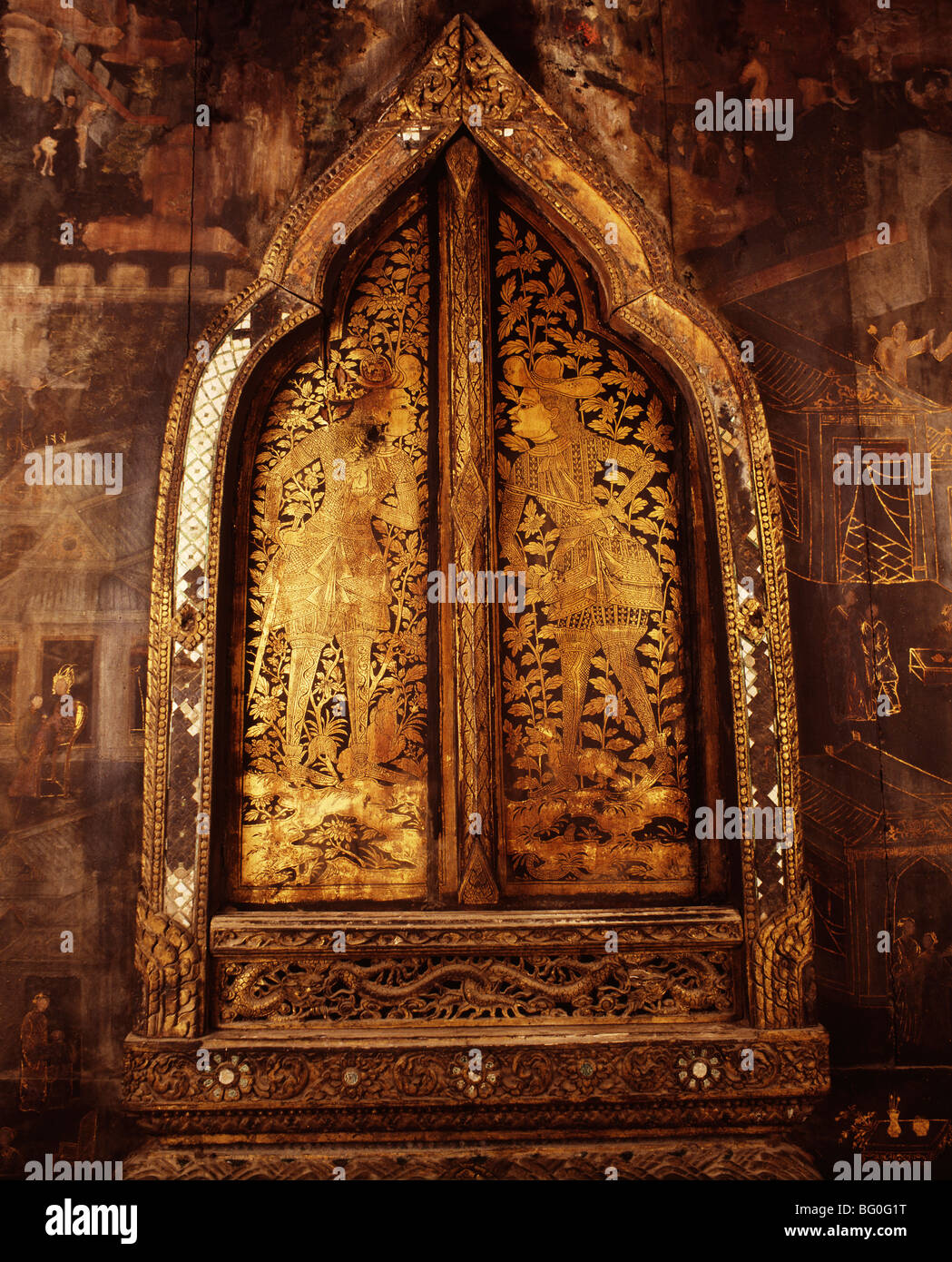 Window from 17th century, showing foreign merchants in Thailand, Southeast Asia, Asia - Stock Image