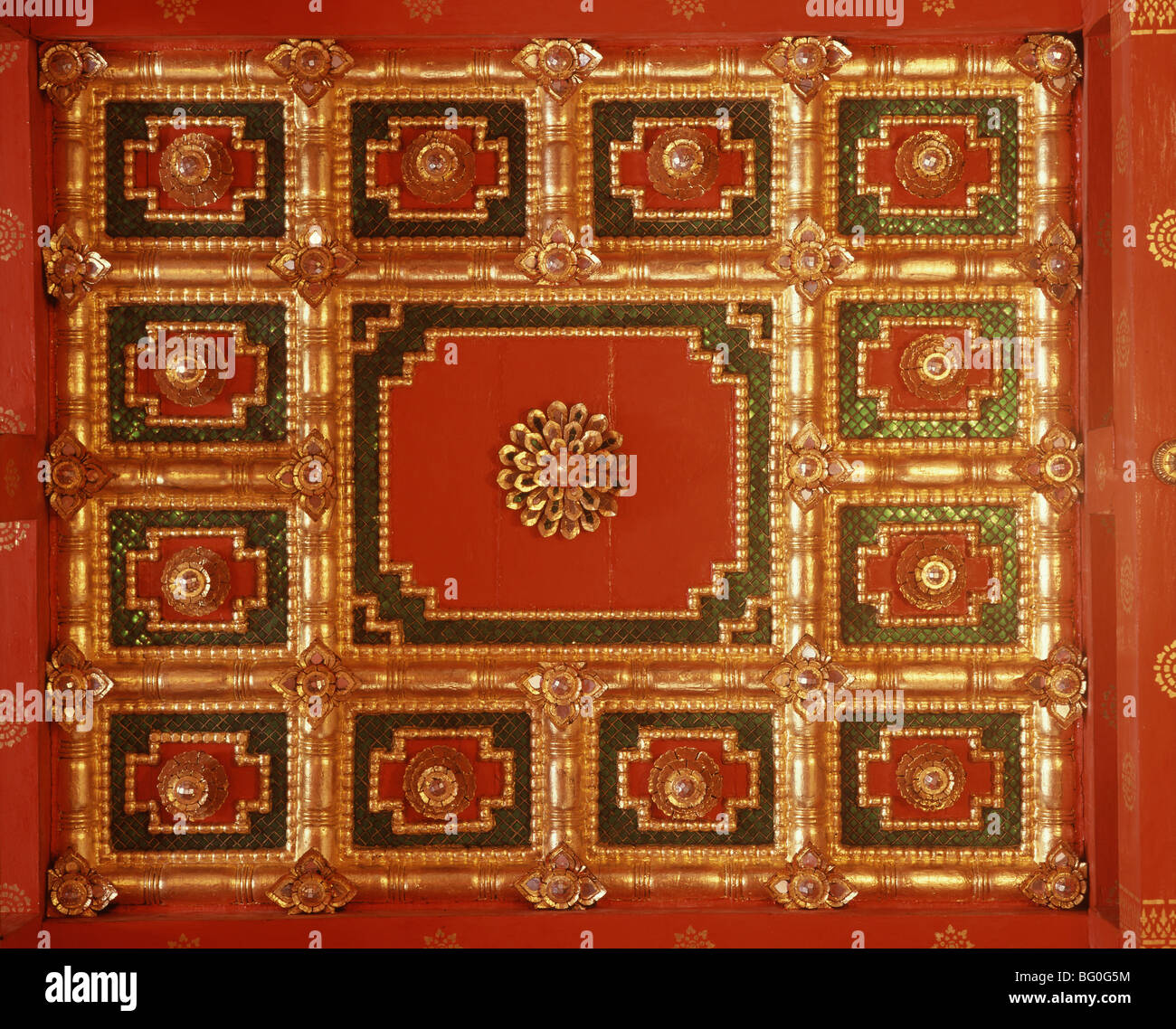Ceiling of a temple in Ayutthaya, Thailand, Southeast Asia, Asia - Stock Image