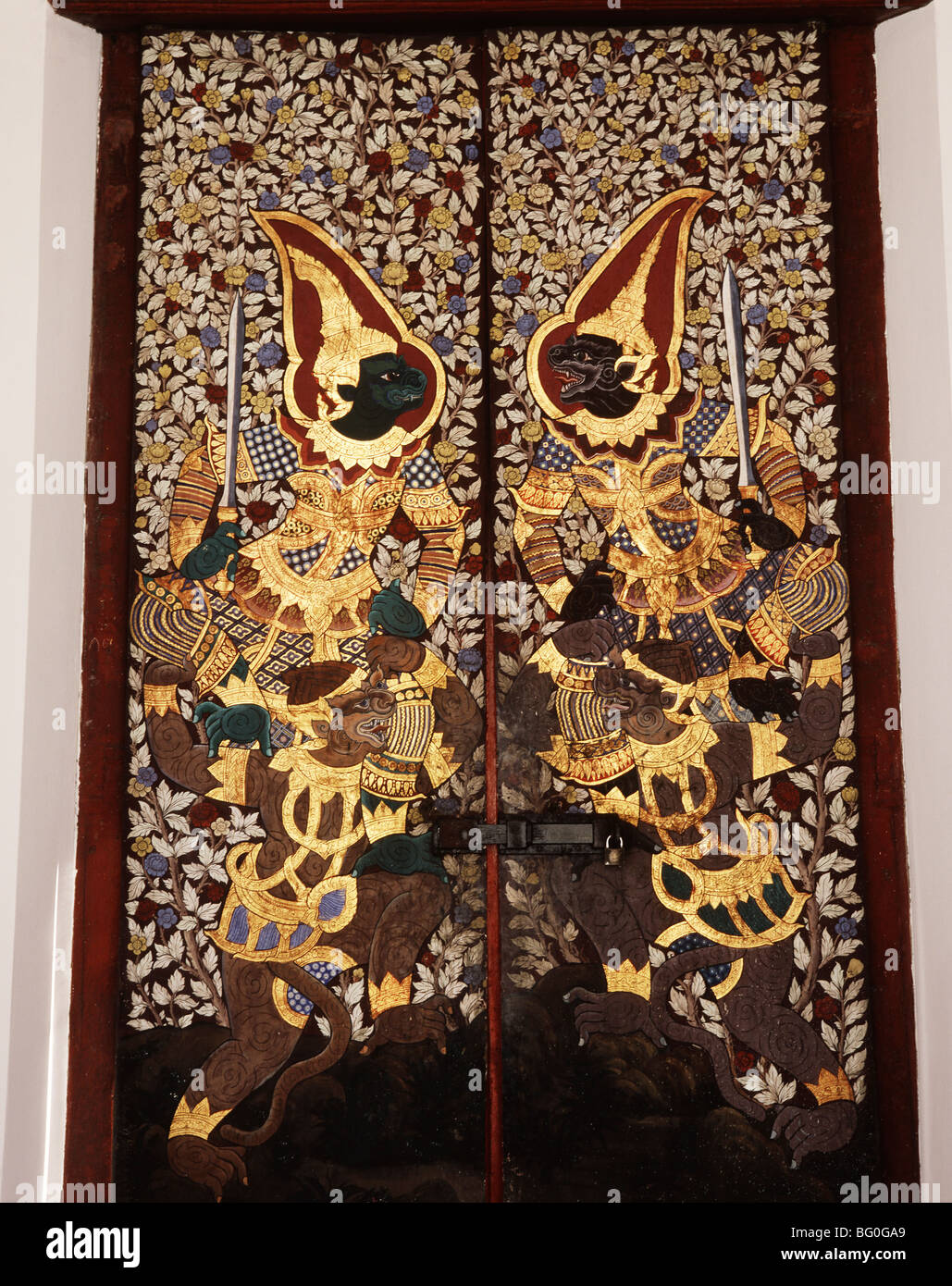 Thai door detail, Wat Suthat, Bankgok, Thailand, Southeast Asia, Asia - Stock Image