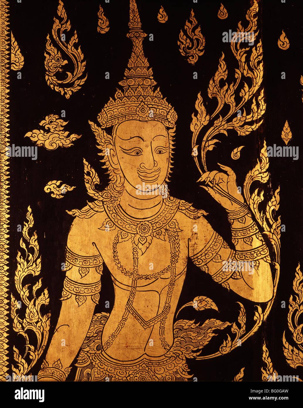 Thai door detail, Thailand, Southeast Asia, Asia - Stock Image