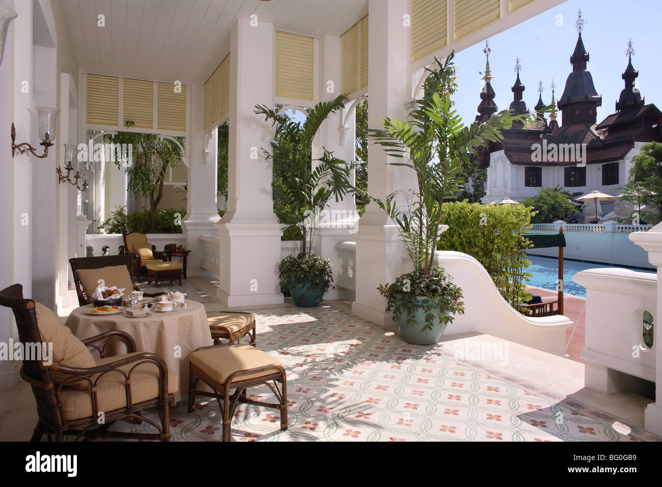 Colonial style suite at Mandarin Oriental Dhara Dhevi, Chiang Mai, Thailand, Southeast Asia, Asia - Stock Image