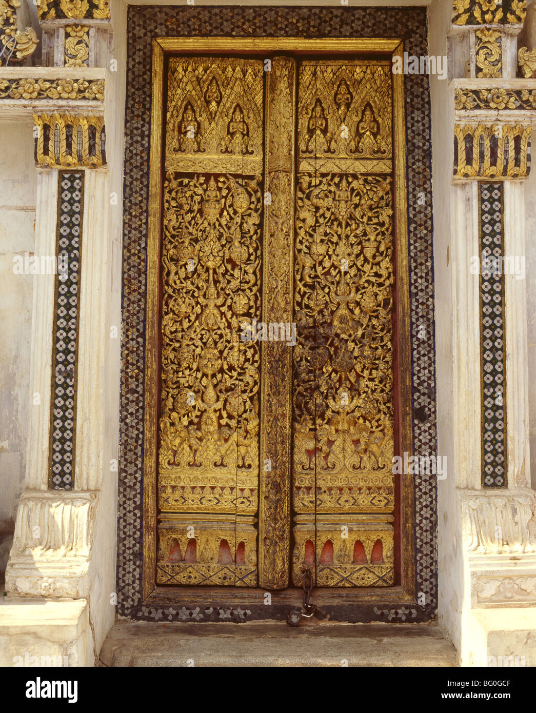 Carved and gilded wooden door at Wat Na Phra Men Ayutthaya Thailand Southeast & Wooden Temple Door Stock Photos u0026 Wooden Temple Door Stock Images ...