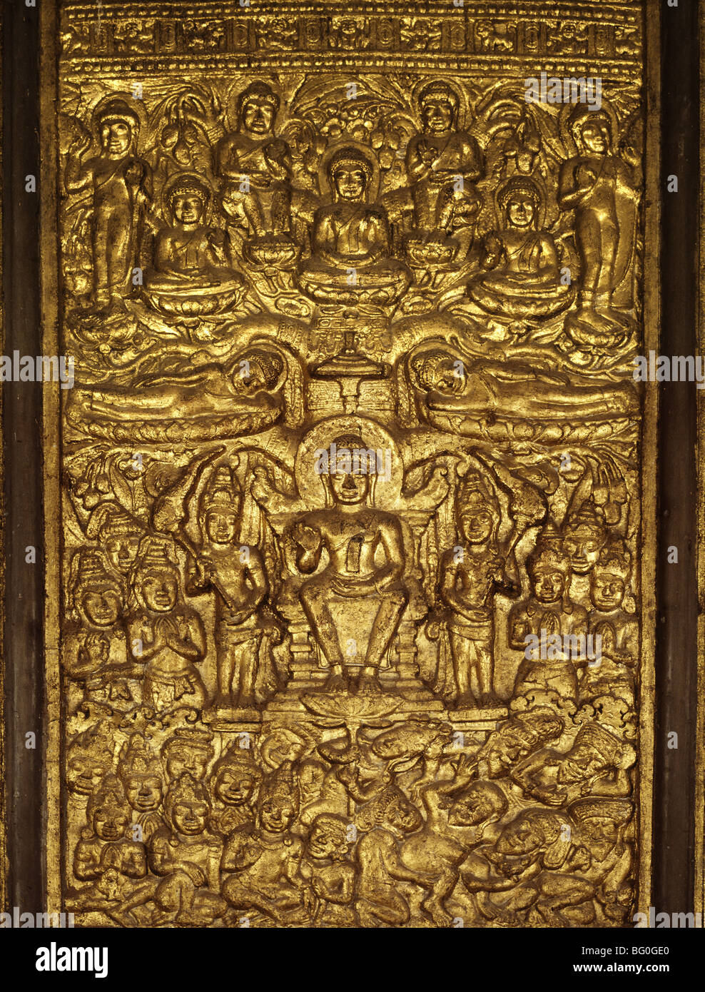 Davaravati bas relief showing episodes in the life of Buddha, now in Wat Suthat Bangkok, Thailand,. Southeast Asia, - Stock Image
