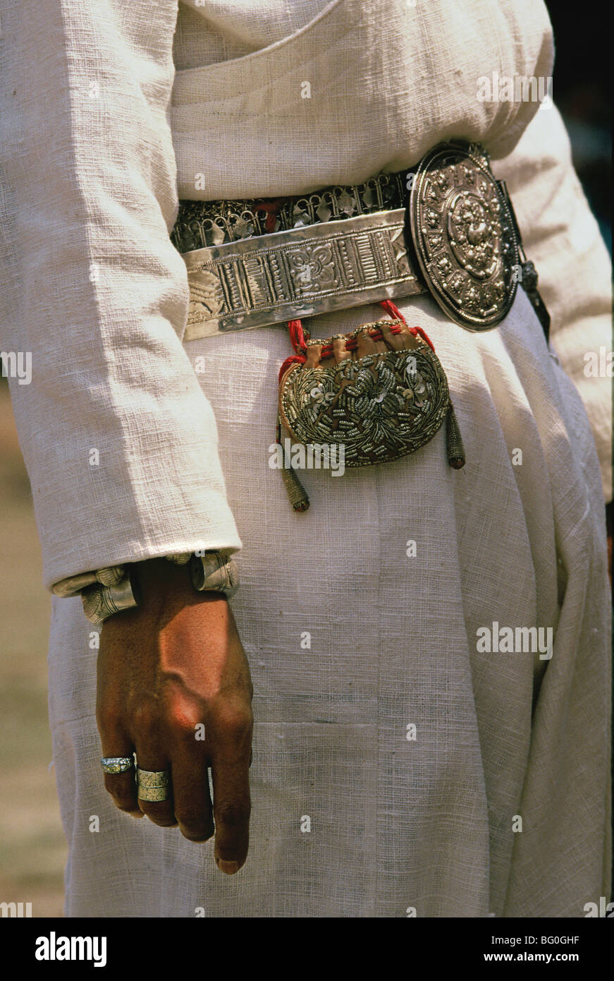 Ornate silver belt on a man, Northern Thailand, Southeast Asia, Asia - Stock Image