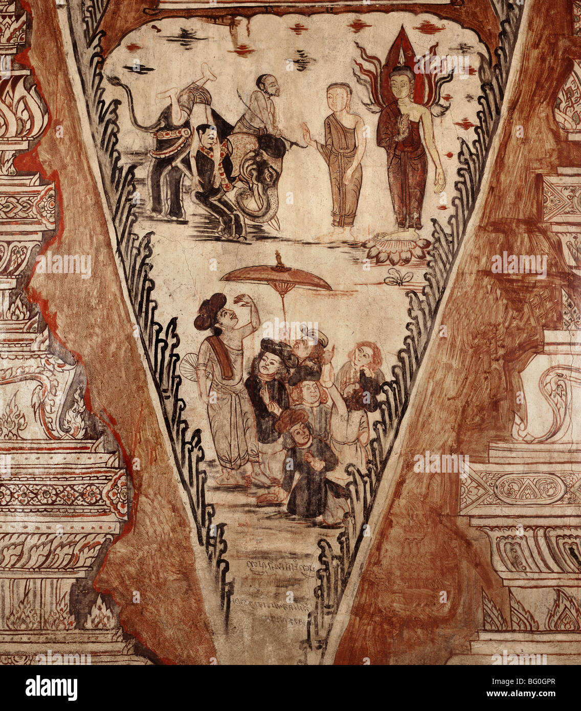 Buddha confounds the heretics, detail of mural dating from 1734, at Wat Ko Keo Suttharam, Petchaburi, Thailand, - Stock Image