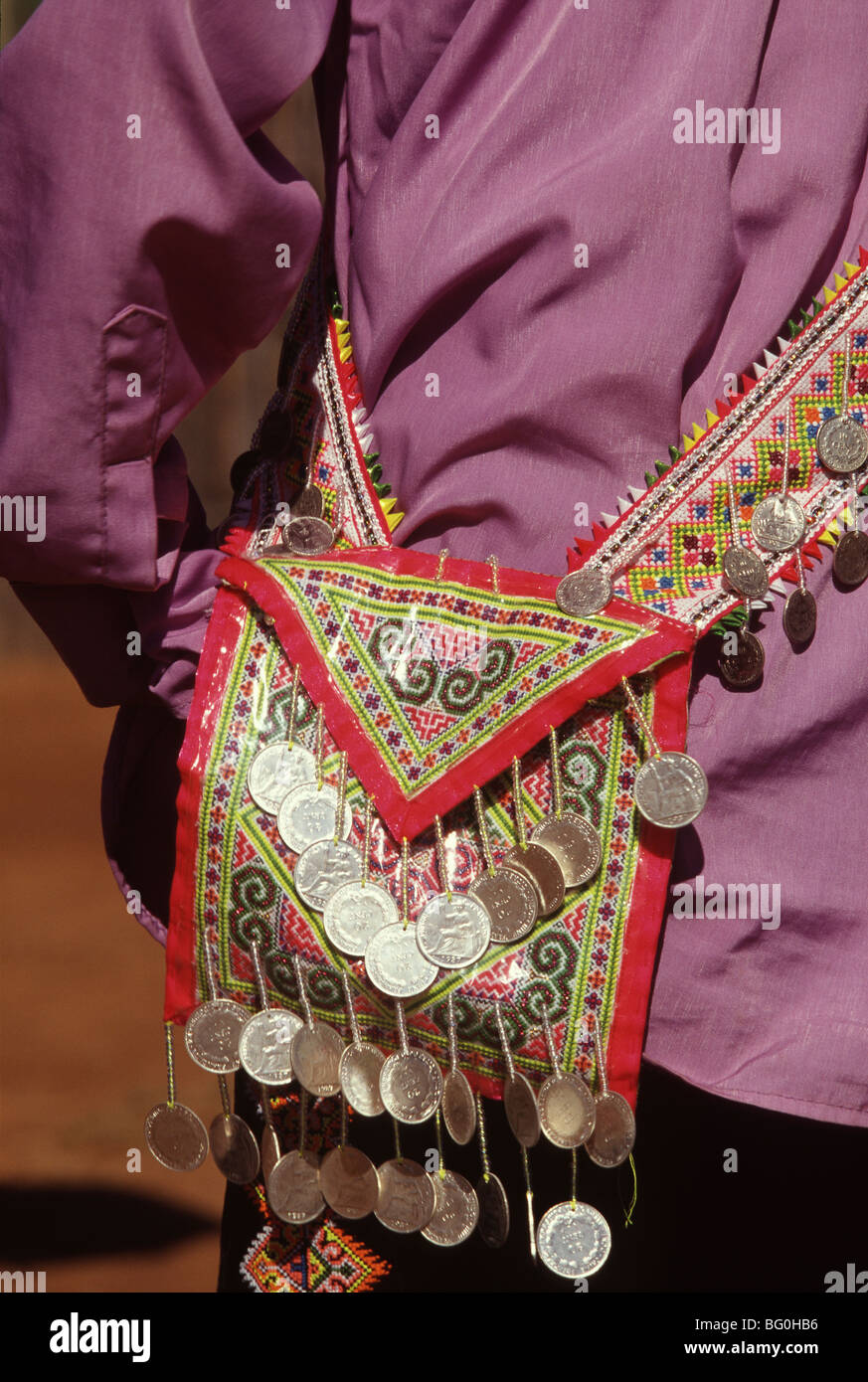 Textiles and decorations of White Hmong Tribe, Northern Thailand, Southeast Asia, Asia - Stock Image