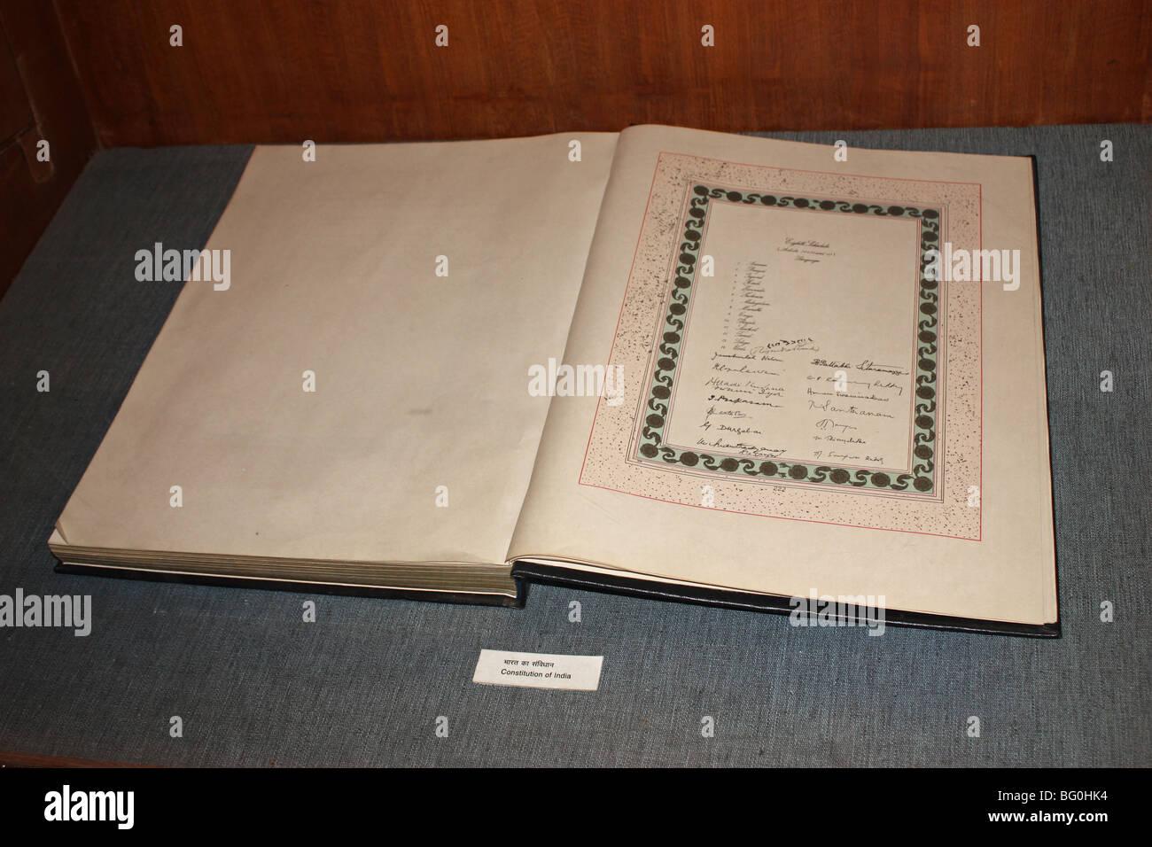 constitution of India book manuscript written - Stock Image