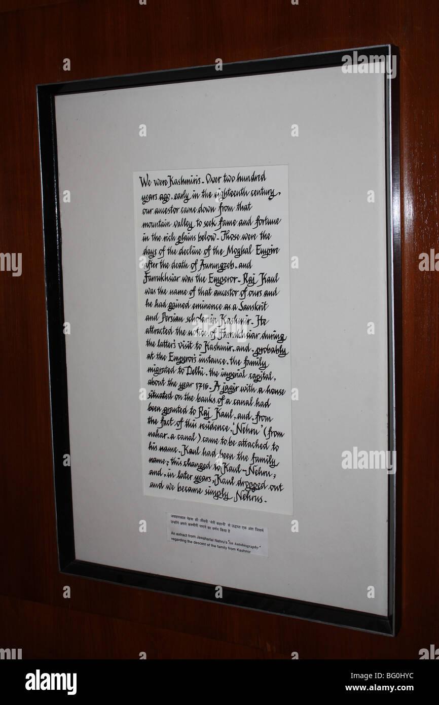Nehru's writing about Kashmir framed - Stock Image