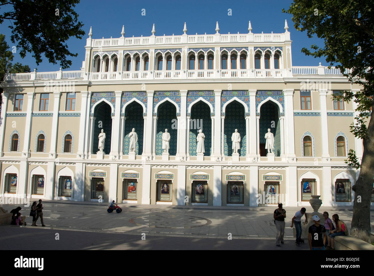 Nizami Museum, with statues of Azeri writers on front of Literature Museum, Fountains Square, Baku, Azerbaijan, - Stock Image
