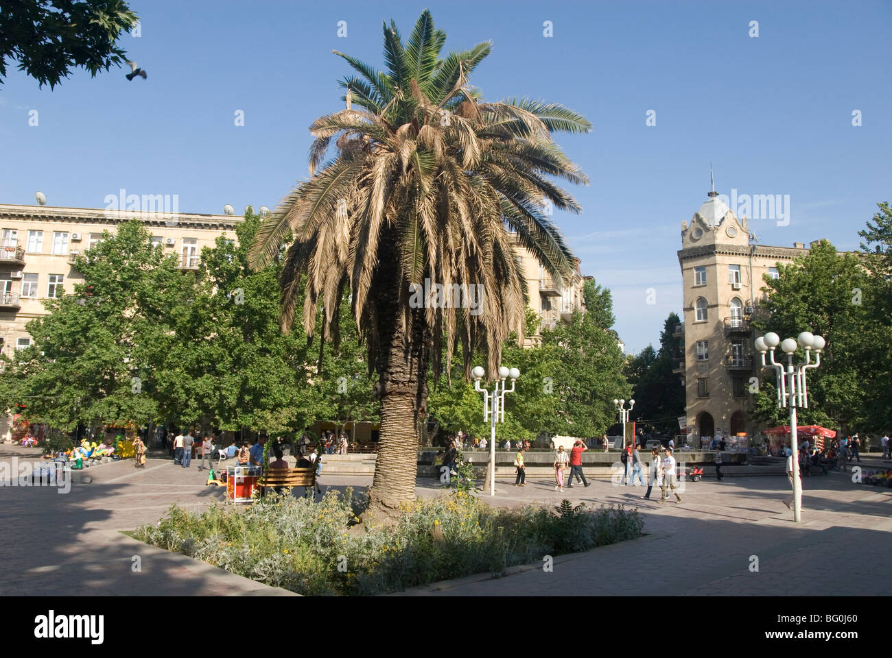 Fountains Square, the main open area in the middle of the city, Baku, Azerbaijan, Central Asia, Asia - Stock Image