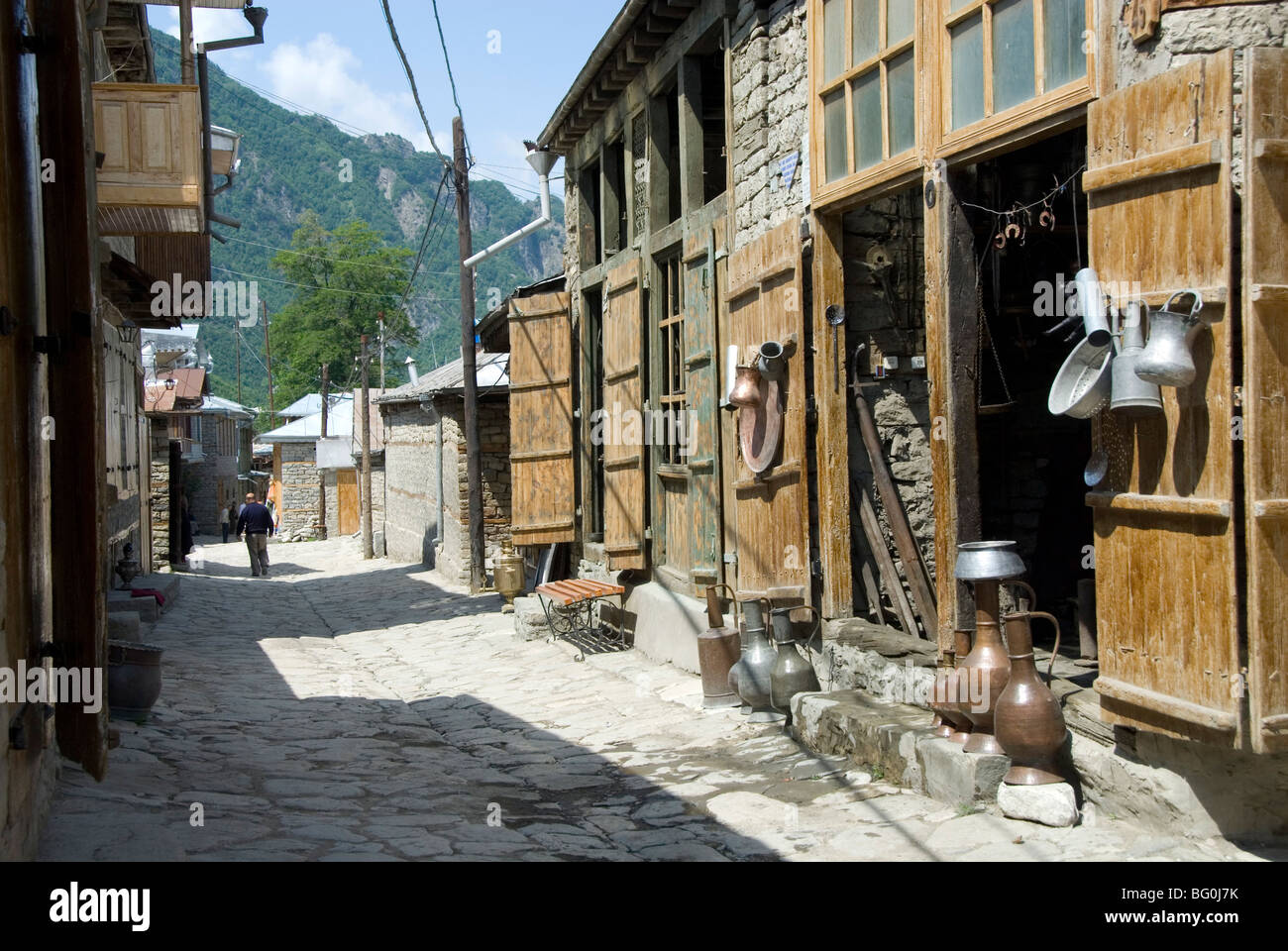 Lahic, traditional village in Greater Caucasus Mountains, near Shaki, Azerbaijan, Central Asia, Asia - Stock Image