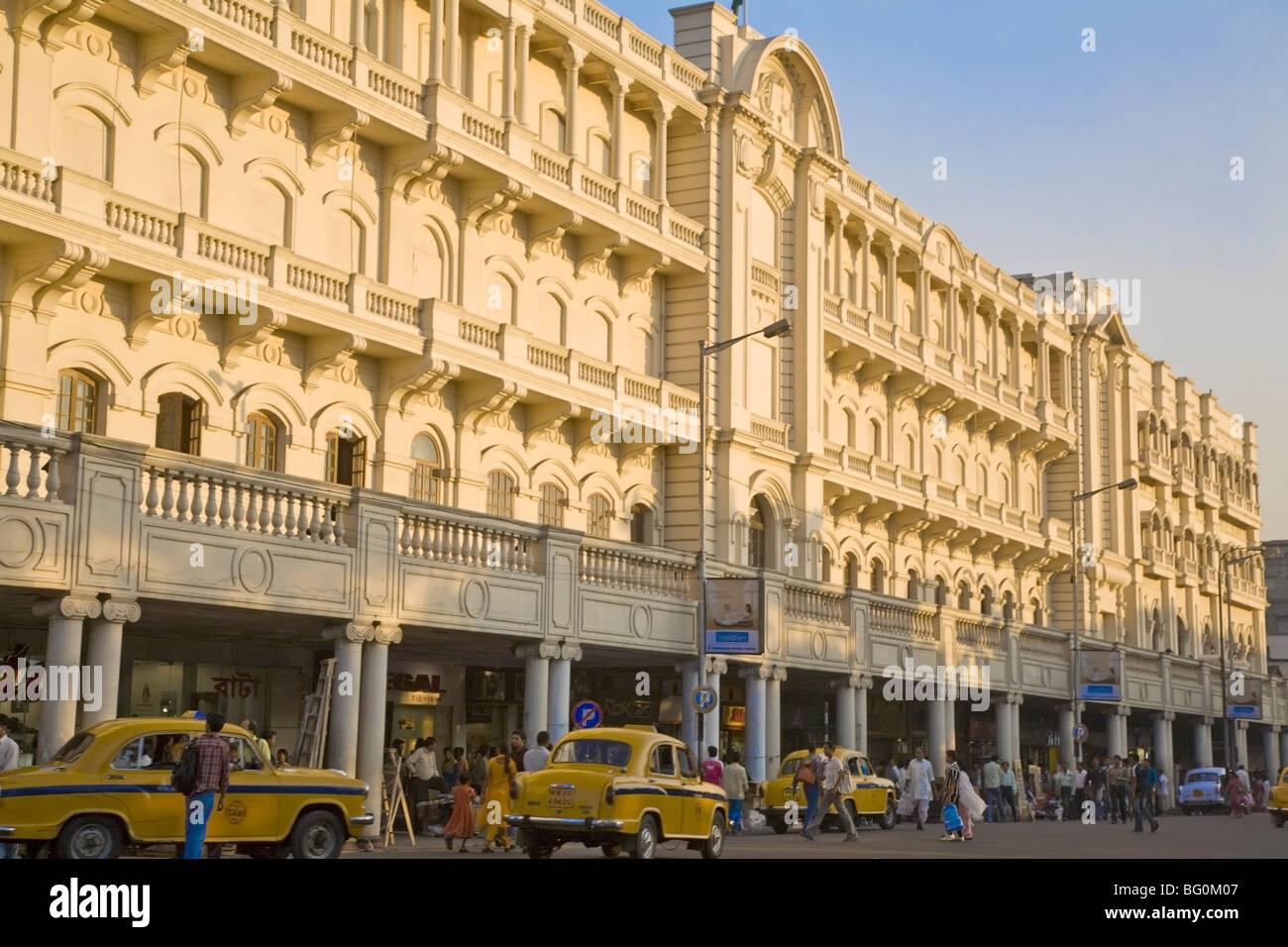 Buildings on Jawaharlal Nehru Road (Chowringhee Road), Chowringhee, Kolkata (Calcutta), West Bengal, India, Asia - Stock Image