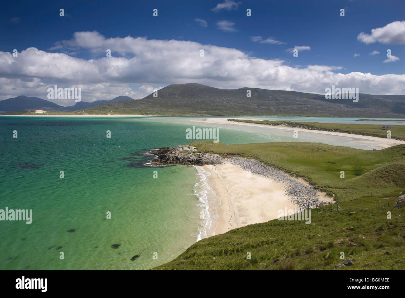Beach at Seilebost, looking towards Luskentyre, Isle of Harris, Outer Hebrides, Scotland, United Kingdom, Europe - Stock Image