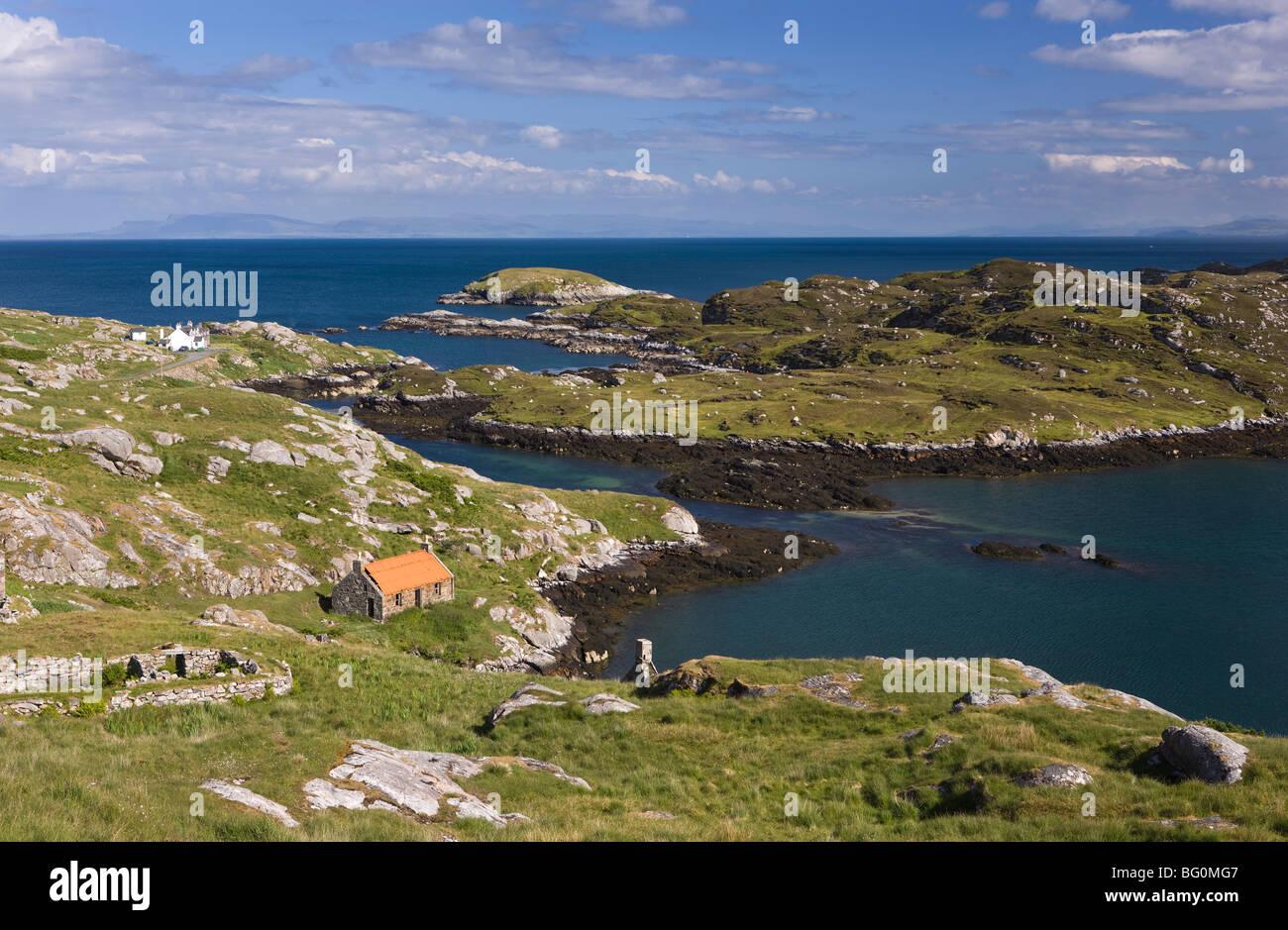 Deserted crofts at township of Manish, Isle of Harris, Outer Hebrides, Scotland, United Kingdom, Europe - Stock Image