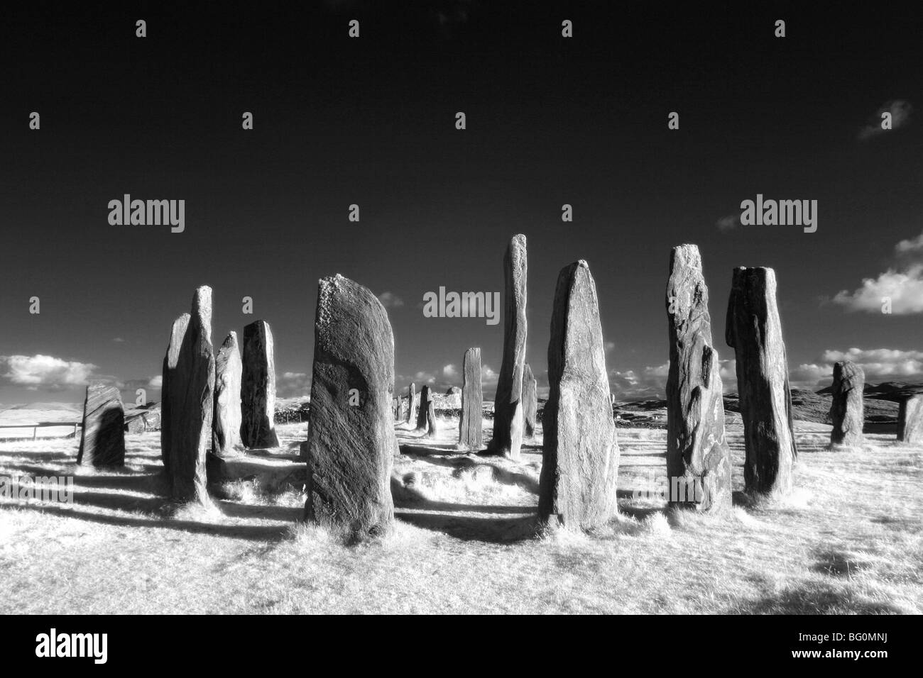 Infrared image of Standing Stones of Callanish, Summer Solstice 2008, Callanish, Isle of Lewis, Outer Hebrides, - Stock Image