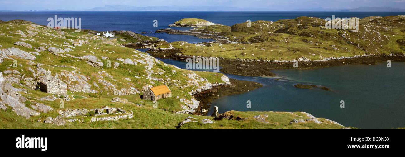 Deserted crofts, township of Manish, Isle of Harris, Outer Hebrides, Scotland, United Kingdom, Europe - Stock Image