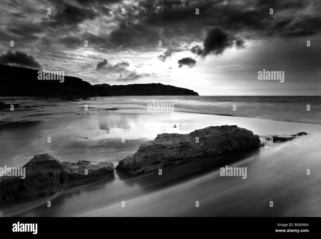 Stormy day on Singing Sands (Camas Sgiotaig), Isle of Eigg, Inner Hebrides, Scotland, United Kingdom, Europe - Stock Image