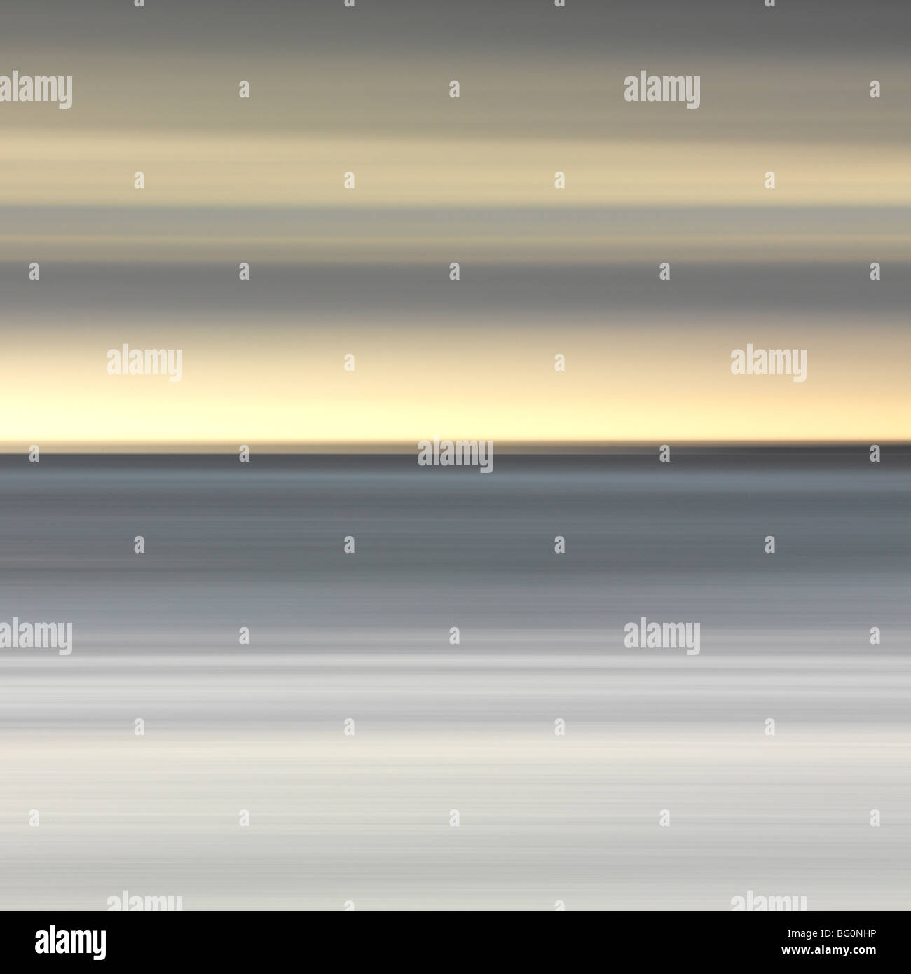 Abstract image of the view from Alnmouth Beach to the North Sea, Alnmouth, Northumberland, England, United Kingdom, - Stock Image