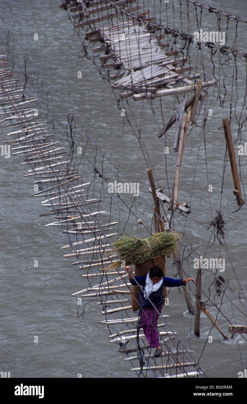Swinging rope bridges, Gojal near Passu, Pakistan, Asia Stock Photo