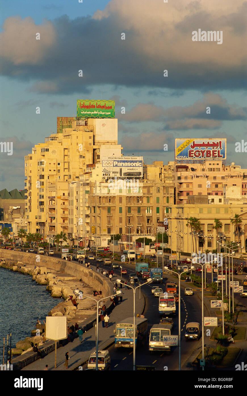 Corniche in evening light, Alexandria, Egypt, North Africa, Africa - Stock Image