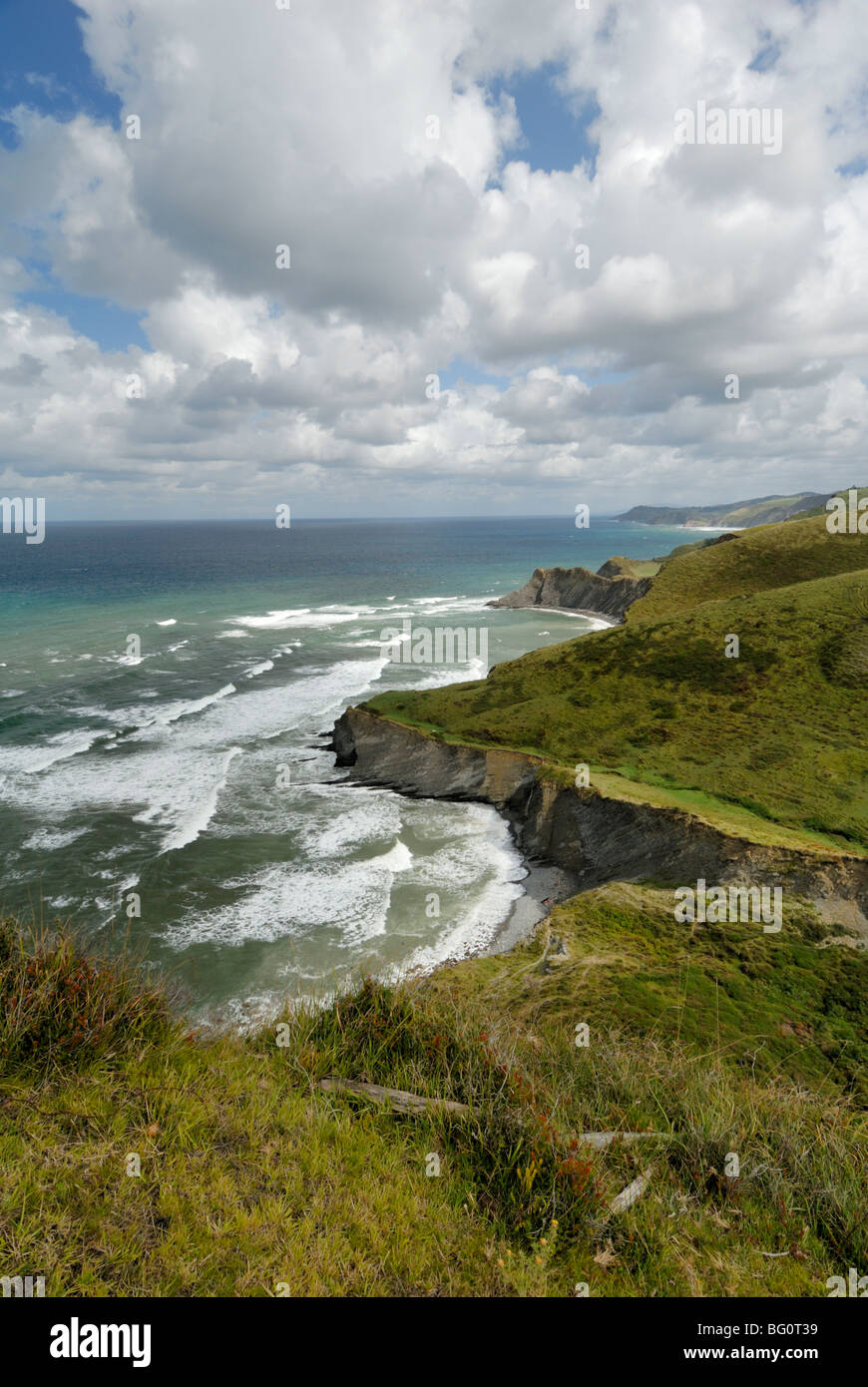 Basque Coast from high viewpoint, Costa Vasca, Euskadi, Spain, Europe - Stock Image