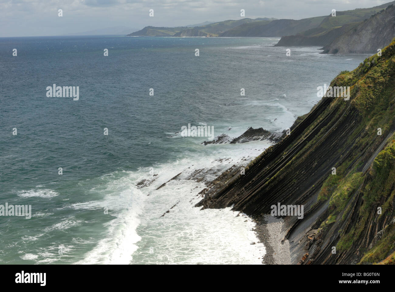 View from high point on the wild Basque coast, Euskadi, Spain, Europe - Stock Image