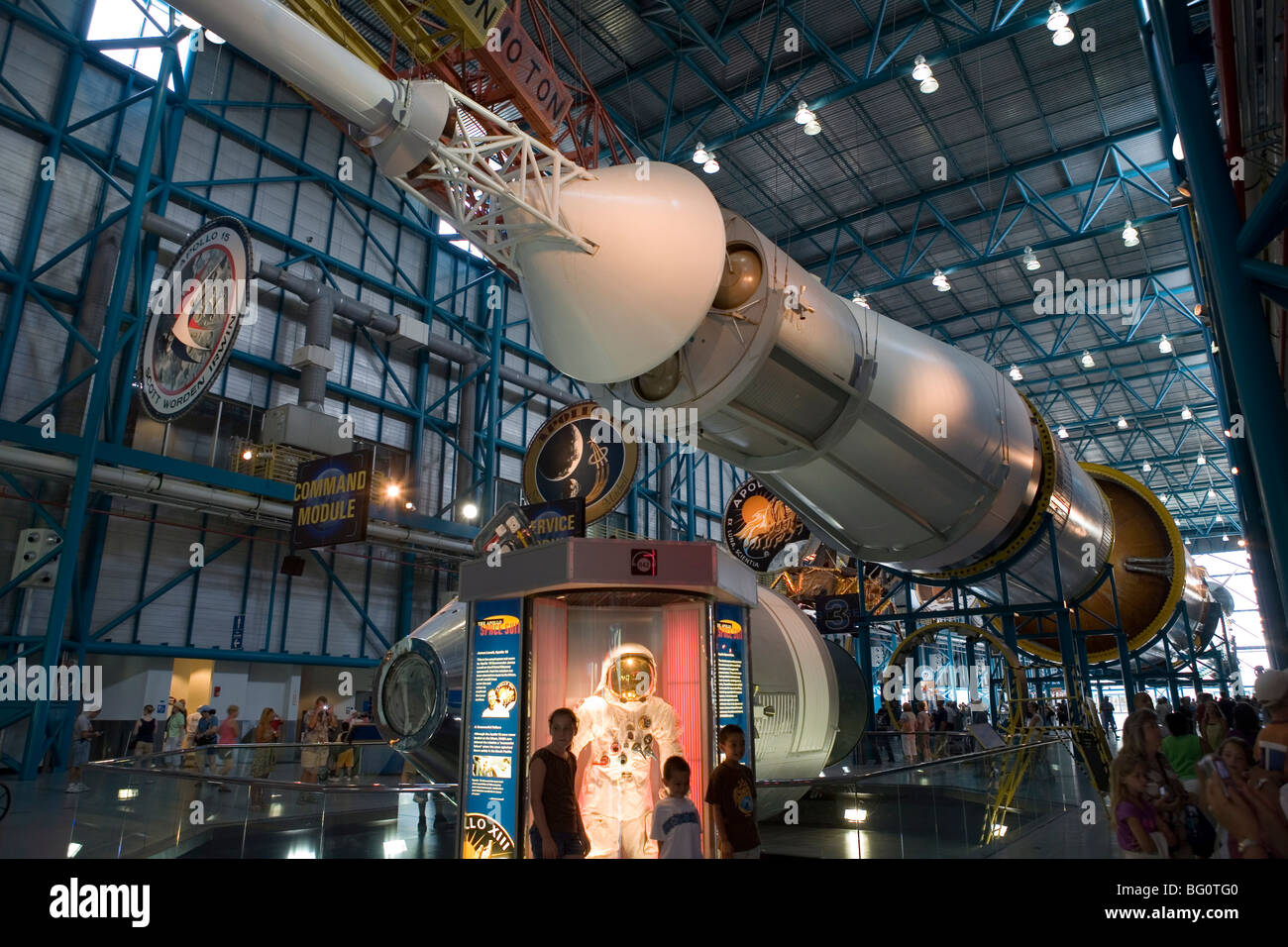 Saturn V rocket, Command and Service modules, and space suit from Apollo 13, Kennedy Space Center, Cape Canaveral, - Stock Image