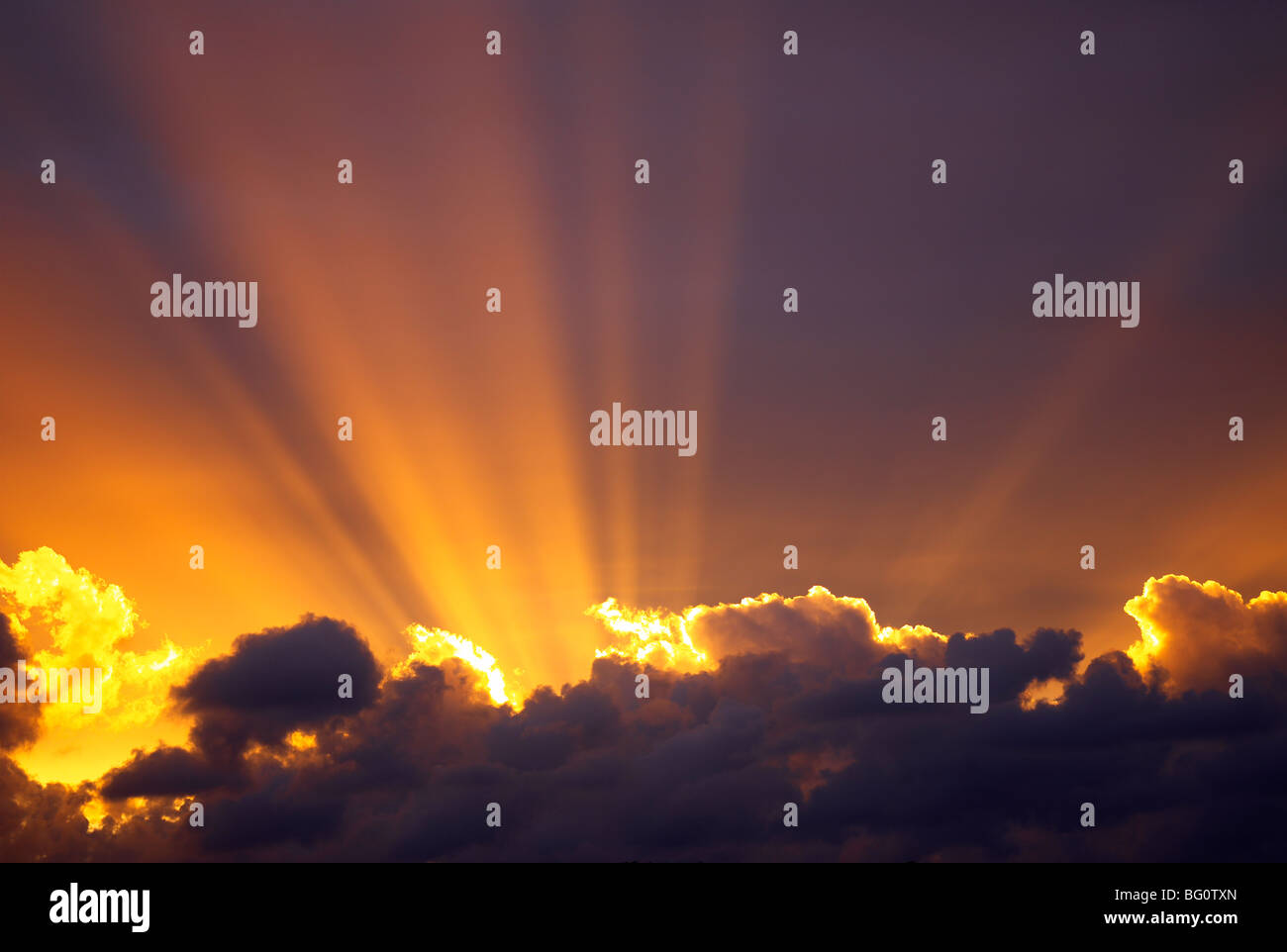 Sun beams through stormy sky, Sydney, New South Wales, Australia, Pacific - Stock Image