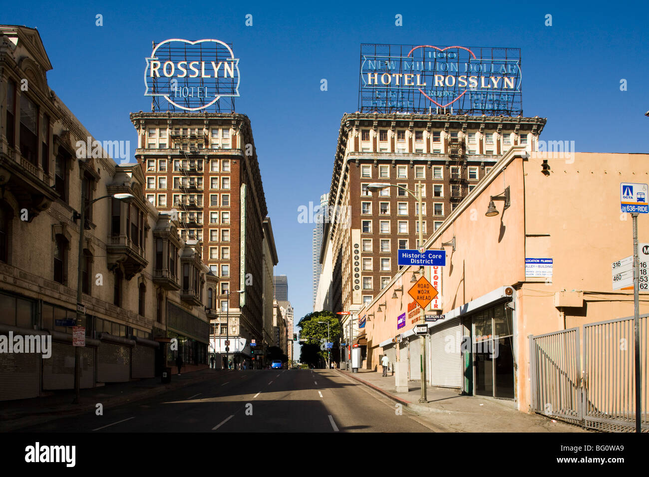 Rosslyn Hotel, downtown, Los Angeles, California, United States of America - Stock Image