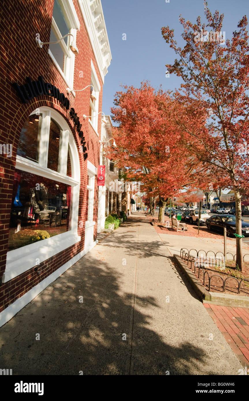Main Street, East Hampton, the Hamptons, Long Island, New York State, United States of America, North America Stock Photo