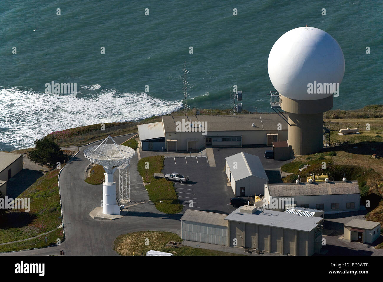 aerial view above Pillar Point Air Force tracking station Half Moon Bay California - Stock Image
