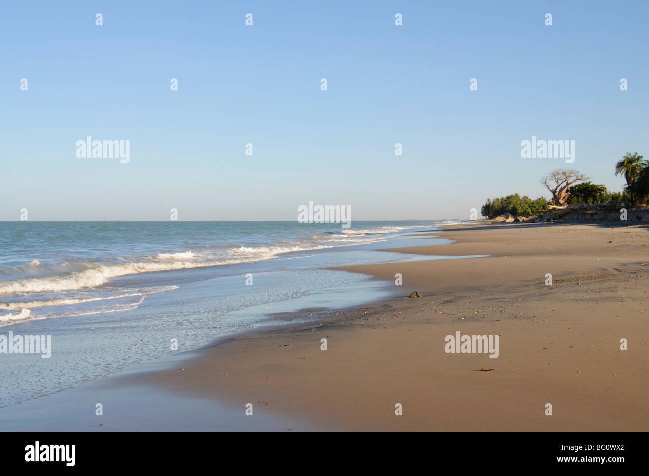 Deserted beach, Sine Saloum Delta, Senegal, West Africa, Africa - Stock Image