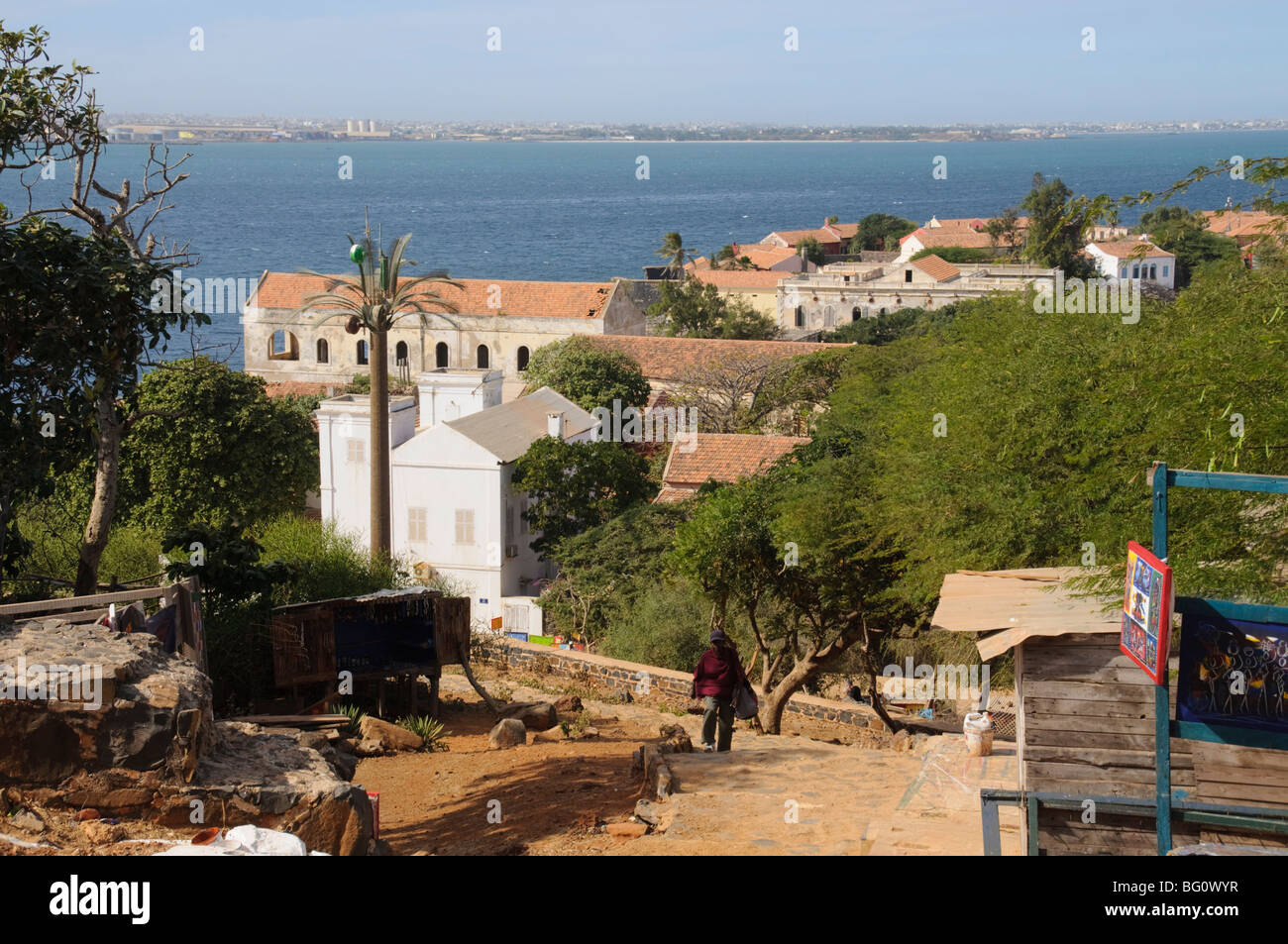 Goree Island famous for its role in slavery, view over to Dakar, Senegal, West Africa, Africa - Stock Image