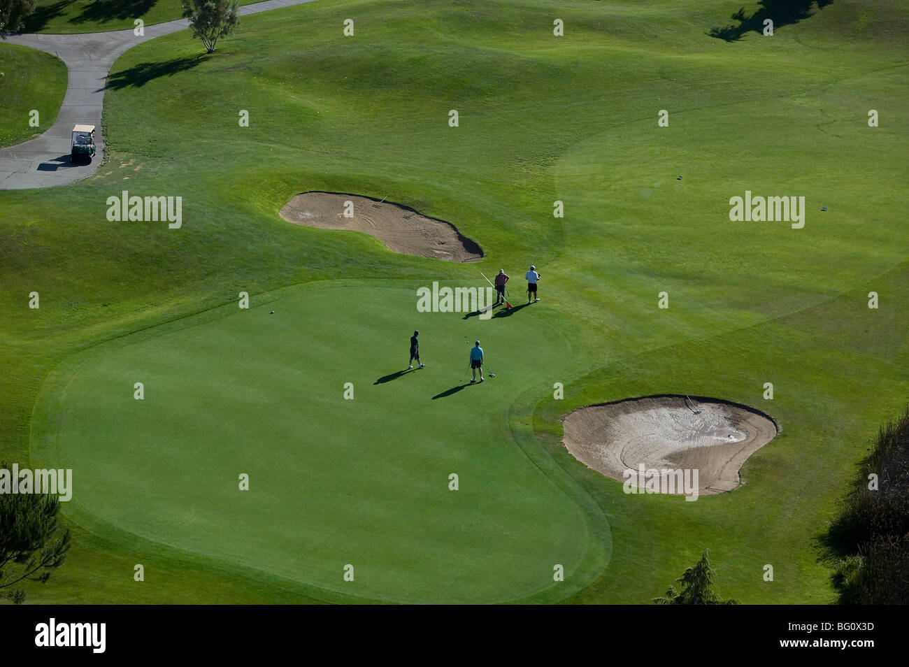aerial above four golfers putting on green Rooster Run golf course Petaluma California Sonoma County - Stock Image