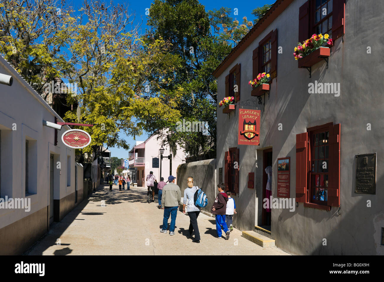 St George Street pedestrian mall, St Augustine, Florida, USA - Stock Image