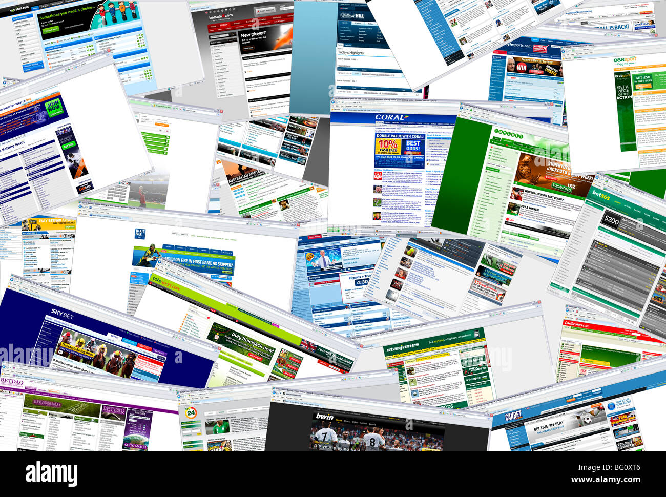 Sports betting websites - Stock Image