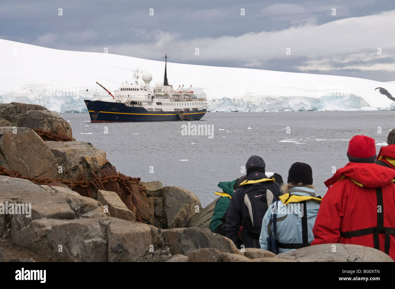 Tourist boat, Port Lockroy, Antarctic Peninsula, Antarctica, Polar Regions Stock Photo