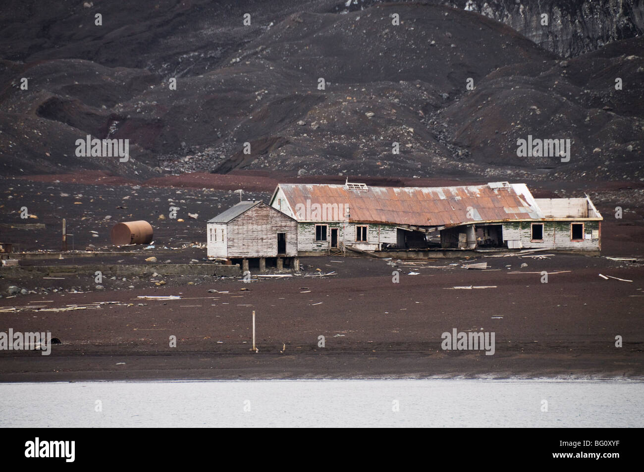 Remains of old Whaling Station, Deception Island, South Shetland Islands, Polar Regions - Stock Image