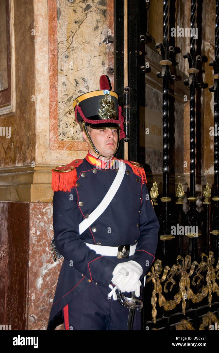Guard at Mausoleum of General Jose de San Martin, Metroplitan Cathedral, Plaza de Mayo, Buenos Aires, Argentina - Stock Image