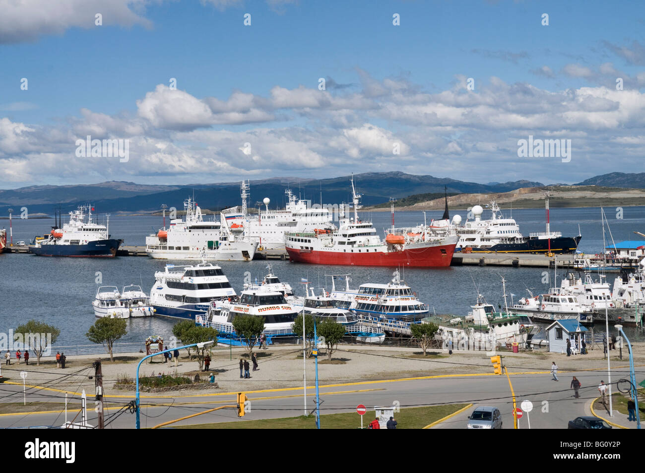 Ships in docks in the southernmost city in the world, Ushuaia, Argentina, South America - Stock Image