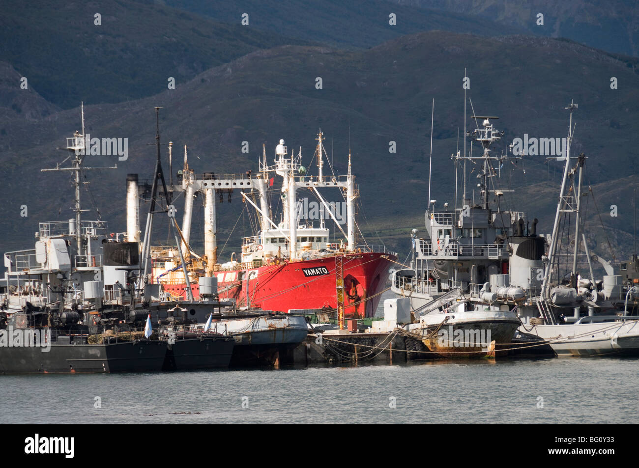 Ships in docks in the southernmost citiy in the world, Ushuaia, Argentina, South America - Stock Image