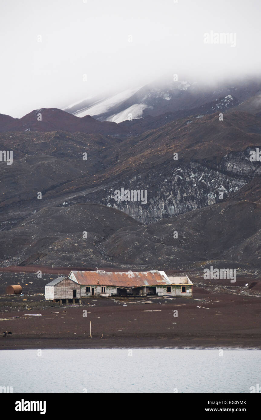 Remains of old Whaling Station, Deception Island, South Shetland Islands, Antarctica, Polar Regions - Stock Image