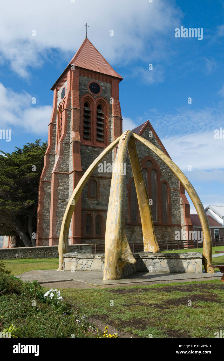 Cathedral and Whale Bone Arch, Port Stanley, Falkland Islands, South America - Stock Image