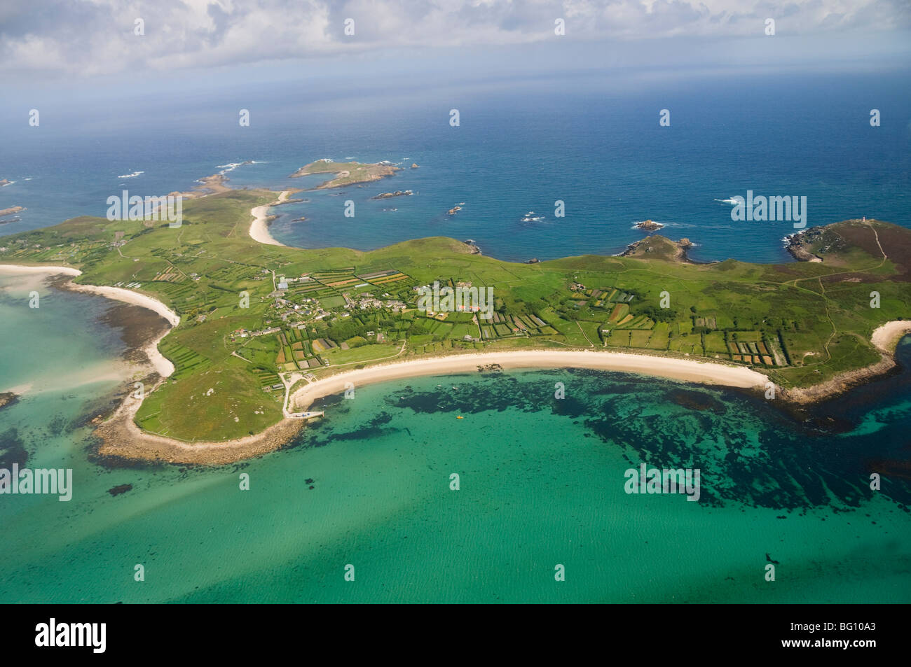 Aerial shot of St. Martins, Isles of Scilly, Cornwall, United Kingdom, Europe - Stock Image