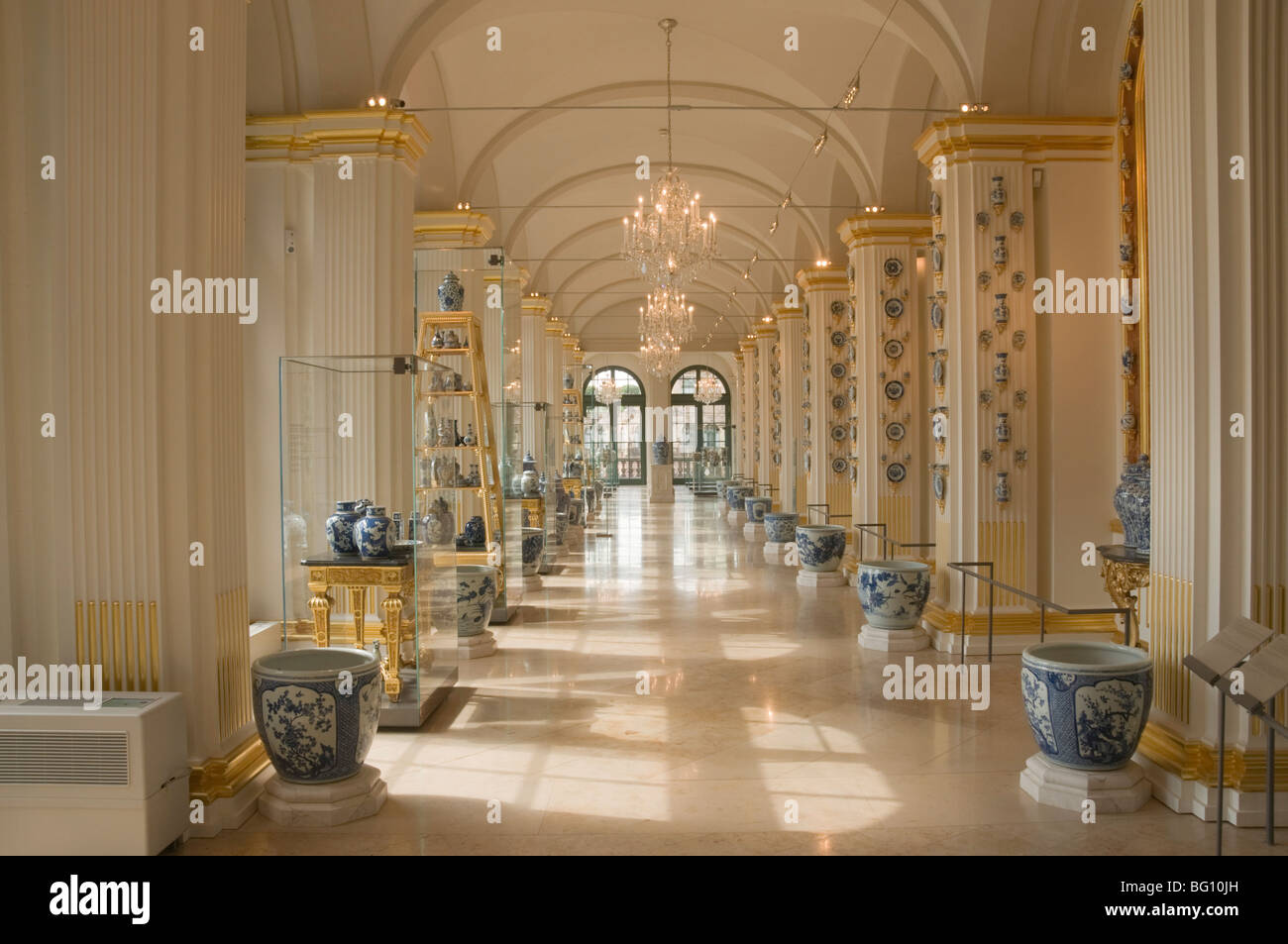 World famous porcelain collection in the Zwinger, Dresden, Saxony, Germany, Europe - Stock Image