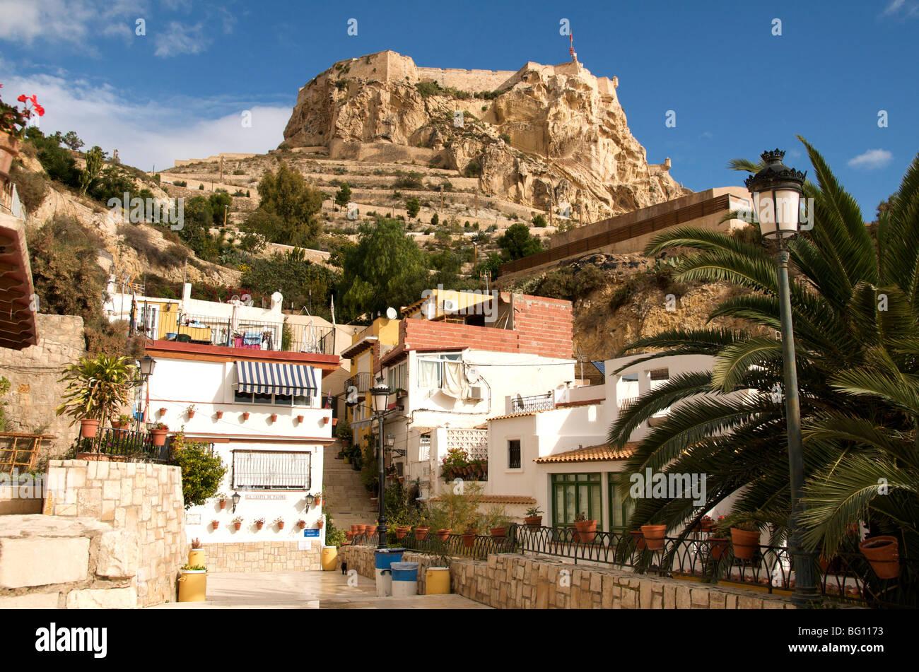 Casco Antiguo, Santa Cruz quarter and Santa Barbara castle in background, Alicante, Valencia province, Spain, Europe - Stock Image