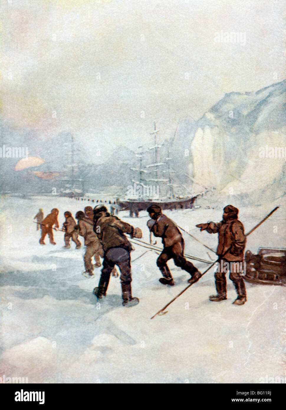 Illustration Of Sir John Franklin And His Men Walking On The Ice With Sledges - Stock Image