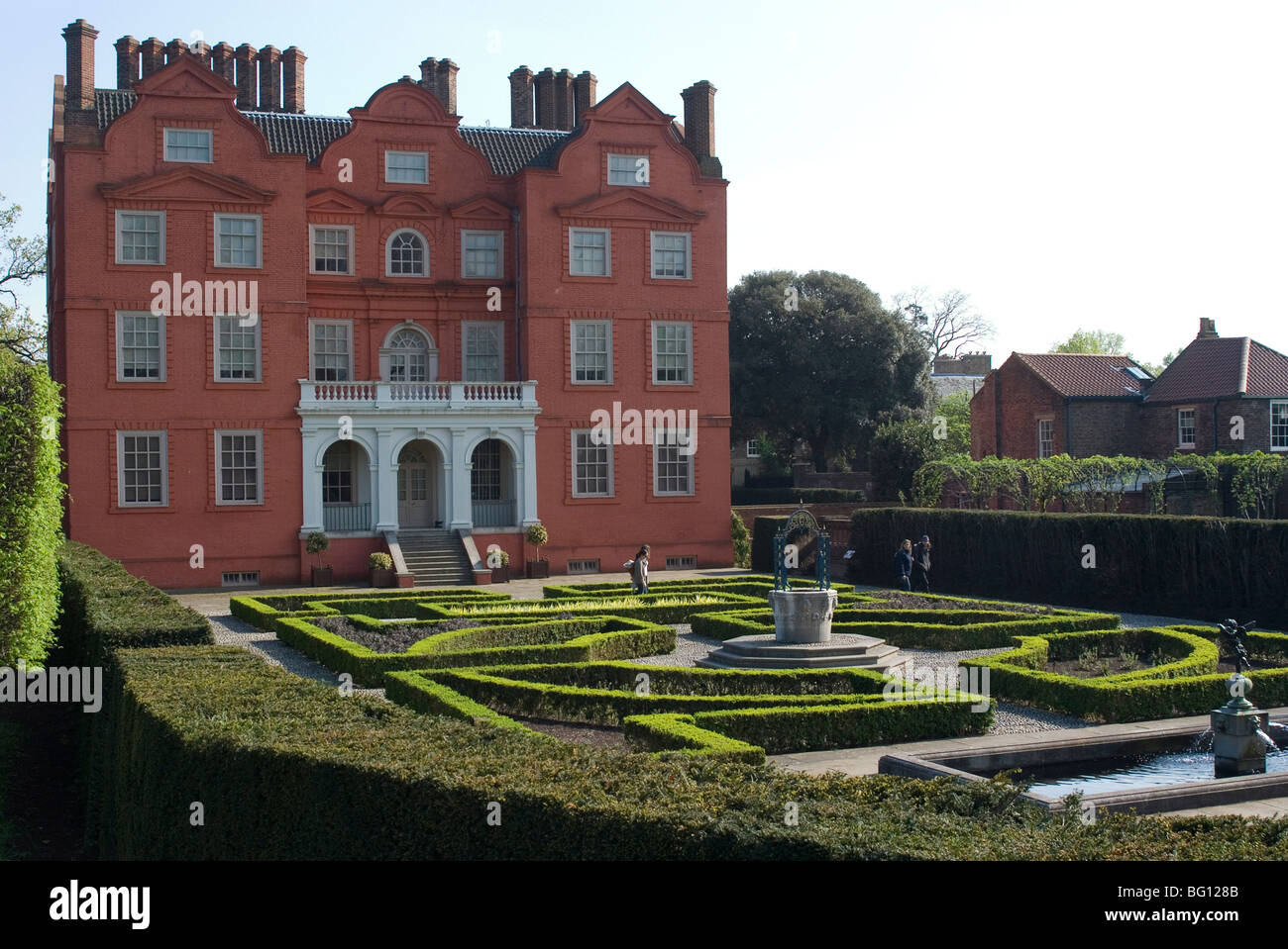 Kew Palace and Queen's Garden, Royal Botanic Gardens (Kew Gardens), Kew, Surrey, England, United Kingdom - Stock Image